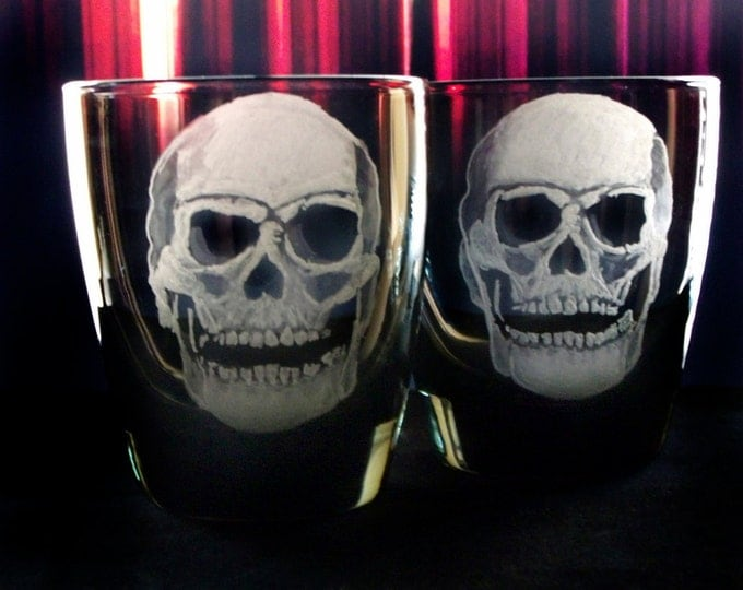 Spooky Skull  Engraved Glass set  Barware Halloween Tumblers   Haunted Glassware Halloween