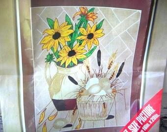 Vintage crewel embroidery kit flowers large