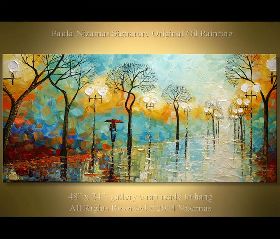 "Red Umbrella  — 48"" PALETTE KNIFE Oil Painting On Canvas By Paula Nizamas - Size: 48 x 24"" Original Ready to Hang"