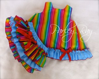 Parley Ray Rainbow Birthday Pinafore Dress with Ruffled Baby Bloomers/ Ruffle Diaper Cover / Photo Props
