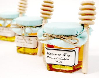 12 Honey Favors with Wooden Honey Dippers and Labels! Perfect for baby showers and birthdays!