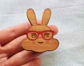 Clever Rabbit Brooch - laser cut bamboo