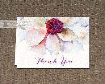 Purple Fuchsia Watercolor Bloom Thank You Card  INSTANT DOWNLOAD Flower Folded Note Card Notecard Blank Inside Digital or Printed- Evelyn