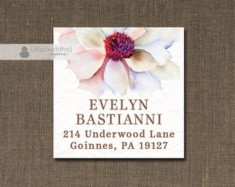 "Purple Fuchsia Bloom Address Labels Stickers Watercolor 1.25"" Square Printable Return Address Labels DIY Digital or Printed - Evelyn"