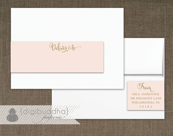 Blush Pink & Gold Envelope Wrap Address Label with Sparkly Gold ...