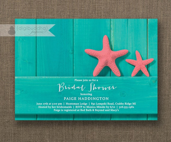 Turquoise And Pink Wedding Invitations: Turquoise Beach Bridal Shower Invitation Pink Starfish