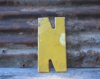 Vintage Marquee Letter Metal Letter Sign Letter N Sign Painted Yellow Vtg Sign Large 10 Inch Marquee Sign Letter Sign Wall Art Alphabet