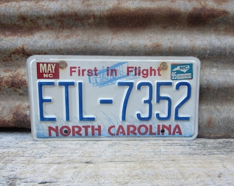 License Plate Vintage License Plate 1995 90s Era NC North Carolina First in Flight License Plate Blue Man Cave Sign Garage Sign Wall Hanger
