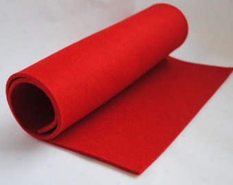 """Red thick wool felt, 3mm, 100% wool, 30x50cm (12x20"""") - Strawberry Fields Red"""