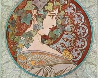 ART NOUVEAU ART print name La Lierre Ivy by Alphonse Mucha