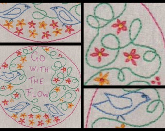 Go With The Flow. Hand Embroidery Pattern by PDF