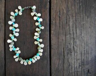 Simple turquoise and white necklace Wedding Sundance style jewelry