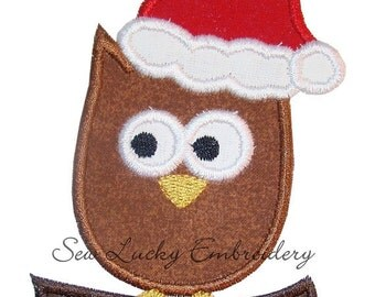 Christmas Owl Appliqued Embroidered Patch, Iron or Sew on