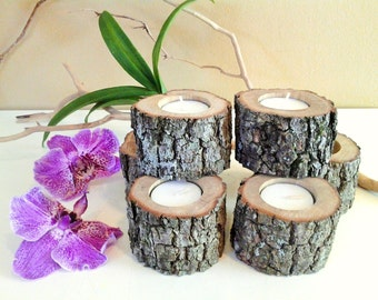"TREASURY ITEM - 10 (3"") Wood tree branch candles  - Rustic tree candle - Home and living - Cabin decor - Rustic weddings - wood candles"