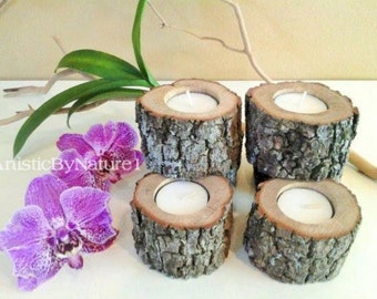 """20 (3"""")  Rustic wedding candles - Wood tree branch candles - Wood tree slice - Rustic tree candle - Home and living - Cabin decor"""