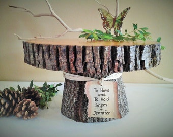 "TREASURY ITEM  - 12"" Rustic wedding cake stand - Personalized cake stand -  Rustic cake stand - Wood cake stand -  Rustic wedding"