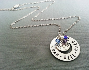 Hand Stamped personalized Tree of Life Necklace - Personalized Necklace - custom mommy necklace - mothers jewelry - mother charms