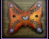 Think Spring & Summer Leather Butterfly hair Barrette with upscale walnut very nicely varnished wood stick.