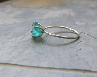 Rough Natural Blue Green Apatite Sterling Silver Ring - made to order