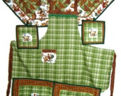 Kitchen Items - featuring Chickens:includes a reversible apron, placemats, pot holders and a table runner