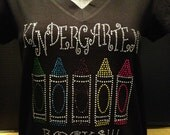 Kindergarten Rocks (Crayons) Custom Bling T-Shirt