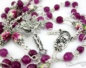 Fuchsia pink catholic rosary, confirmation rosary, catholic gift, girls rosary, pink rosaries, unbreakable rosary, holy communion gift