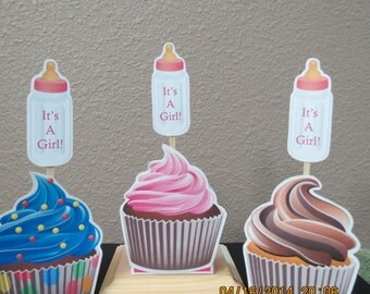 It's A Girl Baby Bottle Cupcake Toppers (Set of 12)