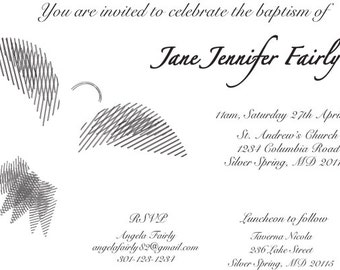 Baptism Christening Dove Invitation