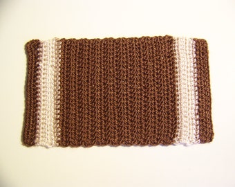 Dollhouse Miniature Hand Crocheted Brown, Tan and Off-white Area Rug (Made from Bamboo Thread)