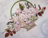 C.1950 French Silk Rayon Ribbon Applique - Basket of Flowers