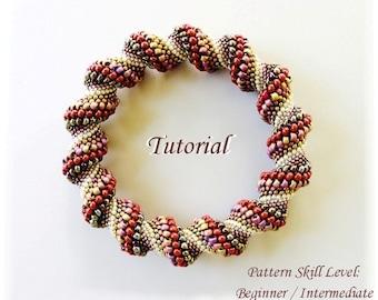 CINNAMON TWIST Cellini Spiral beaded bracelet beading tutorial beadweaving pattern seed beads beadwork jewelry beading pattern instructions