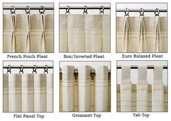 Drapery heading styles for custom panels for Different styles of drapes