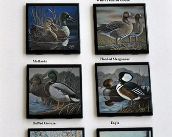 Pick 4 -Black Ceramic Tile Drinking Coasters Handmade Ducks, Eagle, Grouse Wildlife Art 4 x 4
