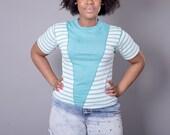 Funky Fresh Vintage 1980s Striped & Vertical V Aqua T Shirt