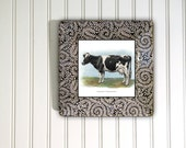 Cow - black and white - kitchen decor - hanging plates - cottage decor - decoupage plate - wall hanging - cow art print - holstein cow art
