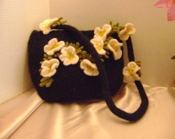 Hand knitted, felted flower bag.