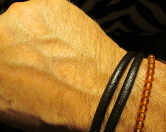 leather bracelet summer 2014 new HANDMADE simple brown double wrap -stainless magnetic steel link SURFER DUDE