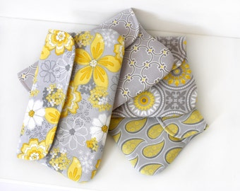 Yellow and Grey bridesmaid clutch miss match set of 4, wedding clutch, bridesmaid gift