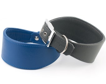 Soft Leather Greyhound Collar - 22 Colours Available
