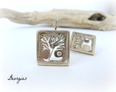 Woodland Post Earrings, Natural Earrings, Autumn Tree Earrings, Metalwork jewelry, Square post earrings, medium long earrings