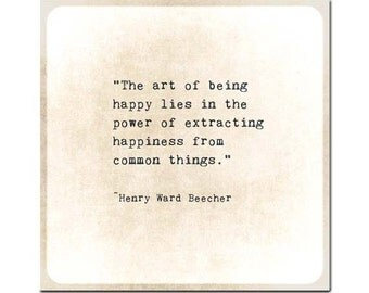 Henry Ward Beecher Quote Happiness Quote Gold Typewriter Quote Typography Inspirational Quote Love Family Nursery Print Nursery Decor