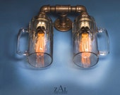 Sconce, Wall light, Double Beer mug, Lamp with vintage style Edison bulbs.
