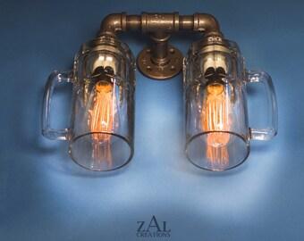 Sconce, Wall light, Double Beer mug, Lamp with vintage style Edison bulbs.