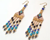 Modern Native American Indian Turquoise & Blue Seed Bead Earrings;  Beaded Fringe With Chalk Turquoise Gem Beads