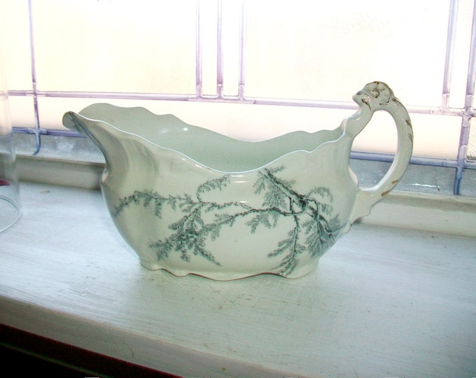Antique Gravy Boat John Edwards Heather Pattern Late 1800s