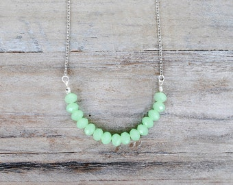 Smoky Mint Necklace,Mint Faceted Glass Necklace,Pastel Green Necklace
