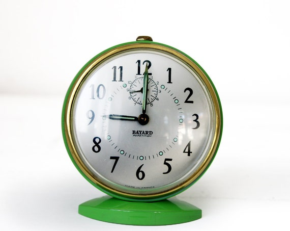 amazing vintage french bayard alarm clock green