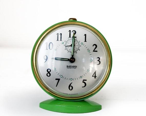 amazing vintage french bayard alarm clock green