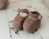 Cute Baby Gift - Hand Knit Baby Shoes - Mink - Luxury Merino Wool/Cashmere