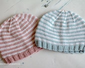 Hand Knit Striped Baby Beanie Hat, Newborn Photography Prop, Baby Gift - Choose Colour, UK Seller